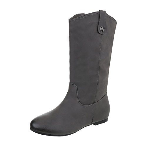 Zapatos para mujer Botas Tac—n ancho Botas cl‡sicas Ital-Design Gris