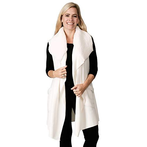 Vest 1 Womens Fleece - Le Moda Women's Pleated Polar Fleece Vest (ONE SIZE, LDS-018-WH)