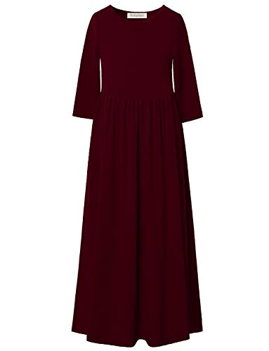 Perfashion Maxi Dress Pockets Girls Burgundy Pleated Casual Crew Neck Cotton Long Solid Dress