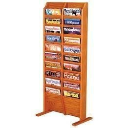 Wooden Mallet 20 Pocket Cascade Free-Standing Magazine Rack, Medium Oak