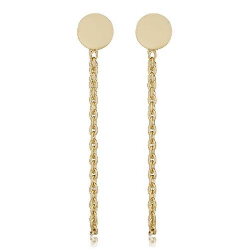 (Kooljewelry 14k Yellow Gold Concave Disc Drape Earrings)