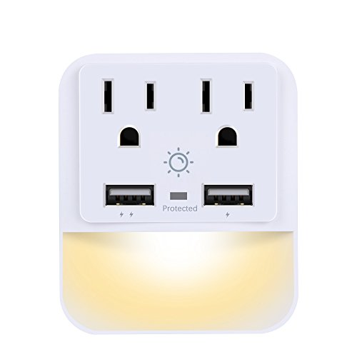 Multi Outlet, Wall Outlet, POWRUI Wall Mount Surge Protector(1080 Joules) with Dual USB Charger Ports(2.4A Total), Dual Outlet Extender and Dusk-To-Dawn Sensor Night light, White by POWRUI