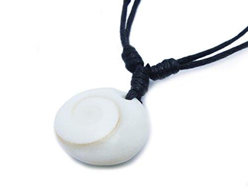 APECTO Jewelry Natural White Shiva Eye Sea Shell Pendant Necklace Handmade Adjustable (Black), (Hindu Halloween Costumes)