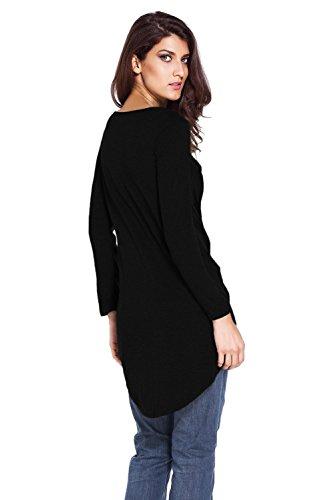 Nueva mujer negro manga larga plata Eyelet Lace Up Top Camiseta Club wear ropa talla única UK 10–�?2