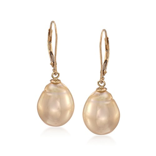 Ross-Simons 11-12mm Golden Cultured South Sea Pearl Drop Earrings in 14kt Yellow Gold