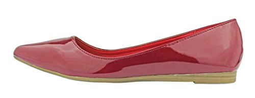 Pierre Dumas Womens Abby-10 Vegan Leather Pointed Toe Slip-On Fashion Dress Flats Shoes Red Patent HIoayG8HPc
