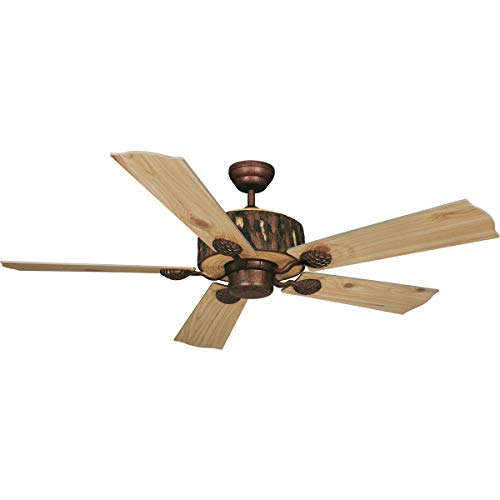 Indoor Ceiling Fans Light Fixtures with Weathered Patina Tone Finish Steel Material Size 52