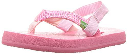 Price comparison product image Sanuk Kids Girls' Yoga Glitter Flip-Flop, Paradise Pink - with Strap, 11/12 M US Little