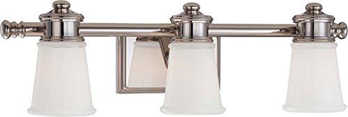 - Minka Lavery Wall Light Fixtures 4533-613 Bath Art Glass Bath Vanity Lighting, 3 Light, Polished Nickel