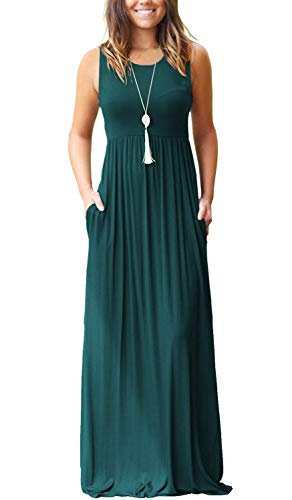 MOLERANI Women's Sleeveless Loose Plain Maxi Dresses Casual Long Dresses with Pockets (2XL, 1-Dark Green)