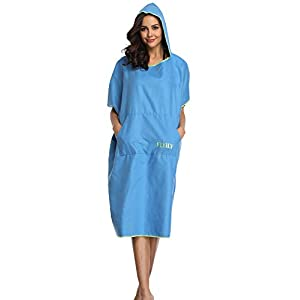 FLYILY Microfibre Surf Poncho Towel with Hood Bath Robe for swimming and beach changing One Size Fit All adults