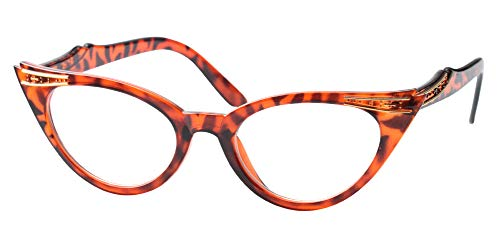 (SOOLALA Womens Vintage Cateyes 80s Inspired Fashion Reading Glasses with Rhinestones, Leopard, 1.5x)