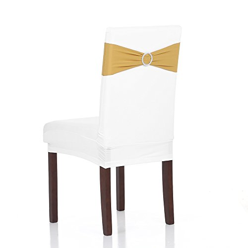 Anself Wedding Elastic Spandex Chair Cover Sashes Bows Elastic Chair Bands With Buckle 50PCS
