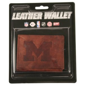Michigan Wolverines Brown Leather Tri-Fold Wallet - Leather Michigan Wolverines Wallet