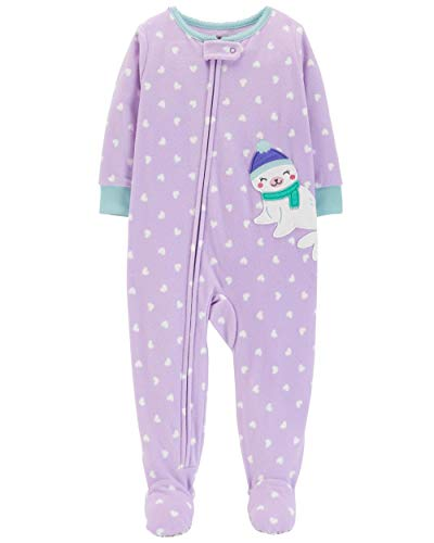 61d6dad1a Galleon - Carter's Baby Girls Microfleece 1 Piece Pajamas, Purple Heart, 3T