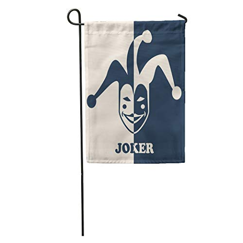 Semtomn Garden Flag Hat Joker Symbol Jester Face Mask Poker Party Casino Head Home Yard House Decor Barnner Outdoor Stand 28x40 Inches Flag