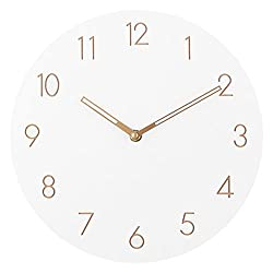 Ryuan Wall Clock,12 inch Round Wooden Quartz Silent Non ticking Decorative Battery Operated, Easy to Read Home Office School Clock (Arabic Numeral)