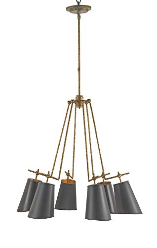 Currey and Company 9503 Jean-Louis - Six Light Chandelier, Old Brass/Marbella Black/Gold Leaf Finish