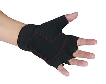 Qiu Ping Mens Gym Sports Slip Bracers Dumbbell Weightlifting Half Finger Gloves