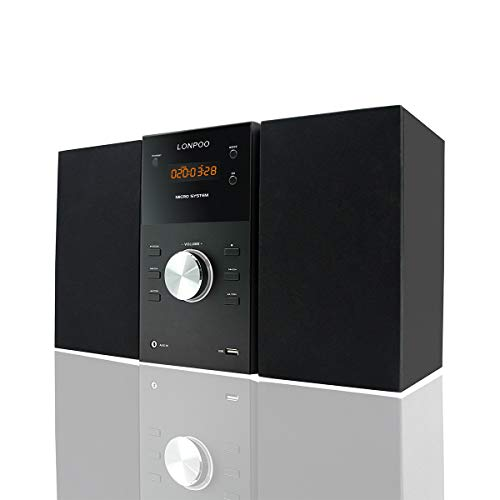 LONPOO Micro Hi-Fi CD Sound System Player 30W RMS Compact Stereo Audio Speaker with Remote Control, Bluetooth, FM Radio, USB MP3 Playback & Aux-in, Black (Best Micro Hi Fi Speakers)
