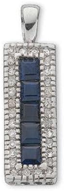 9ct oro blanco 0.16ct Diamond & 0.70ct zafiro azul gota colgante rectangular
