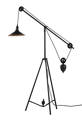 Zuo Modern 98235 Jasper Floor Lamp, Antique Black Gold (Pulley Task Lamp)