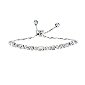 landau Jewelry Deluxe Women's Tennis Bracelet- Elegant Design Metallic Finish and Stones – Ideal Birthday, Christmas
