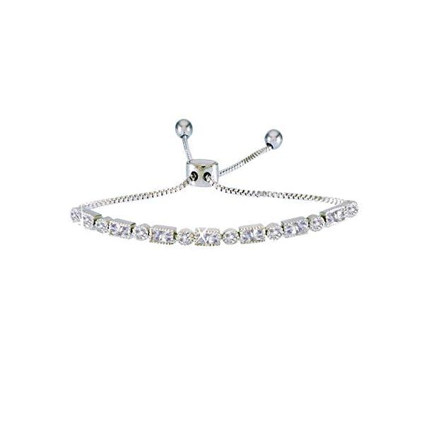 landau Jewelry Deluxe Women's Tennis Bracelet- Elegant Design Metallic Finish and Stones – Ideal Birthday, Christmas
