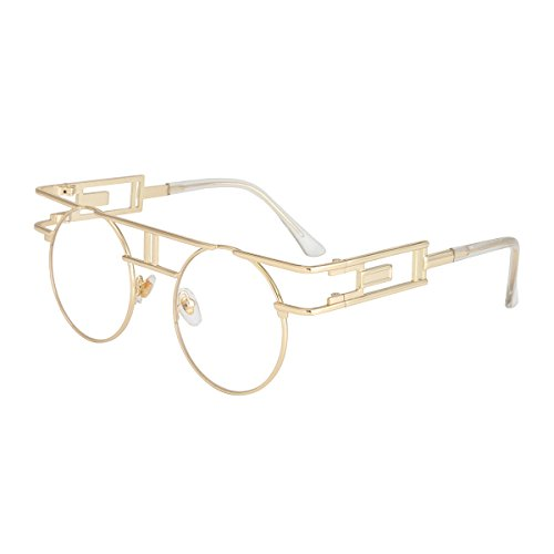 ROYAL GIRL Round Gothic Steampunk Sunglasses For Women Men Circle Classic Retro Glasses Gold Metal Frame Clear - Steampunk Prescription Frames