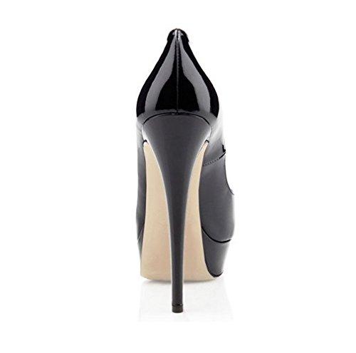 ouvert Peep Talons Femme Escarpins Escarpins Noir Toe Hauts Plateformes femme Chaussures Bout EDEFS à qPZ50n5w