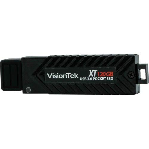 VisionTek XT 120 Gigabyte (GB) USB 3.0 Pocket SSD (901238) | Up to 445MB/s Read & 373MB/s Write Speeds | Bootable Drive | TLC NAND, SMI Controller | Compatible with PS3/PS4 & Xbox One S/X by VisionTek
