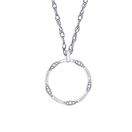 Diamond Accented Circle Pendant - IGI Certified Diamond Accented Open-Circle Pendant Necklace in 10K White Gold (0.07 Cttw)