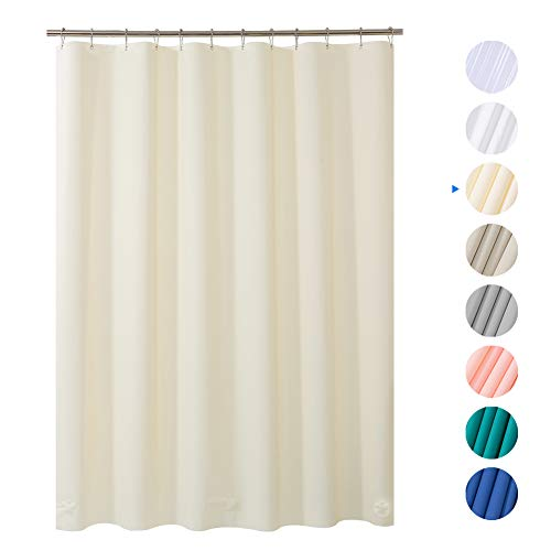 AmazerBath Plastic Shower Curtain Liner, 72 x 72 Beige EVA 8G Thick Bathroom Shower Curtains No Chemical Odor with Heavy Duty Clear Stones and Rust-Resistant Grommet Holes