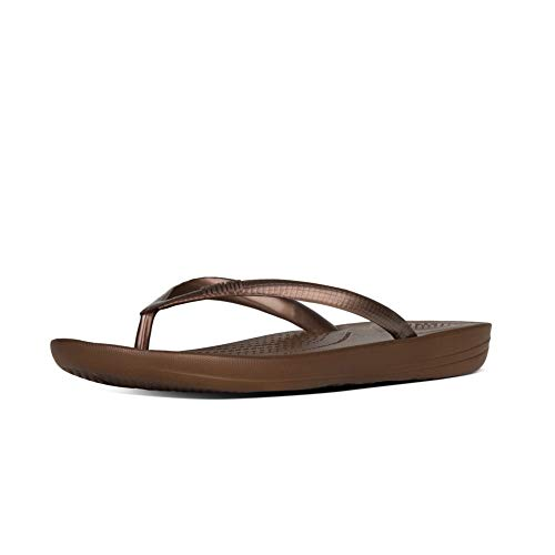 FitFlop Women's IQUSHION FLIP Flop-Solid, Bronze, 11 M US