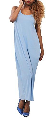 Donne Blu Blansdi Sciolto Vestito Maniche Maxi Backless Casuale Clubwear Girocollo zzxq8rd