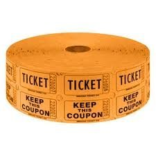 Two (2) Rolls of Two-part Orange Double Roll Raffle Tickets Totaling 4,000 Tickets