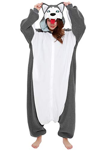 SAZAC Clothing & Accessories Adult Siberian Husky Kigurumi Adult Silver 1 Sealed