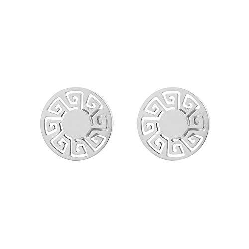 Edforce Stainless Steel Women Round Greek Pattern Stud Earrings -