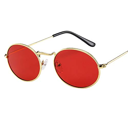 (UROSA Vintage Retro Oval Sunglasses Ellipse Metal Frame Glasses Trendy Fashion Shades)