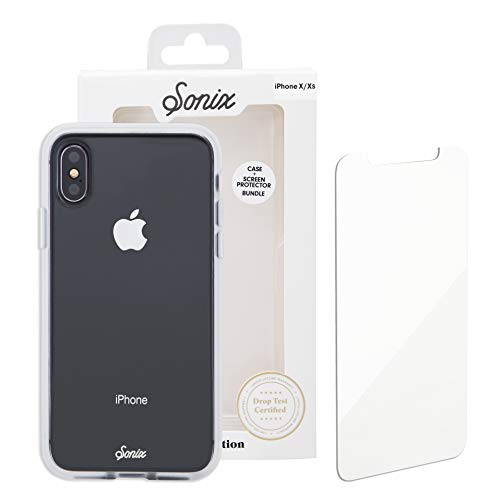 Sonix Clear CASE and Tempered Glass Screen Protector [Military Drop Test Certified] Protective Clear Case for Apple iPhone X, iPhone Xs