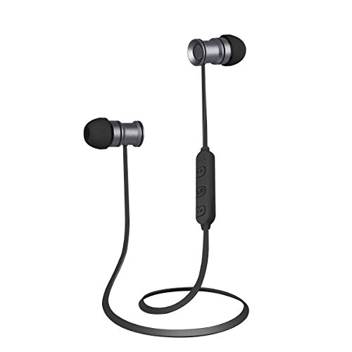 Ec Technology Bluetooth 4 1 Earphones Sports Headphone With Microphone   Stereo With Magnet Attraction  Space Grey