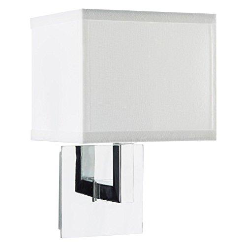 Sofia Wall Sconce Light - Chrome w/ White Fabric Shade - Linea di Liara LL-WL350-1-PC (Sconce One Light Chrome Polished)