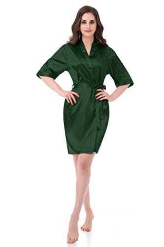 gusuqing Women's Pure Color Short Kimono Robe Sleeve Bridesmaid Robe Dark Green 30 S