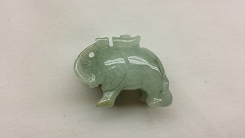 Amulet Lucky Charm Burma Jade Hand Carved Miniature Trunk up Elephant Statue Figurine Sculpture