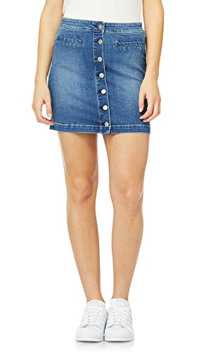 WallFlower Juniors Button Down Mini Denim Skirt in Milan, 3