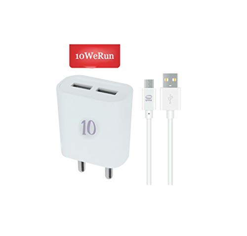 10WeRun ARU Dual Port 2.5 A USB Charger with Fast Charging USB Cable for All Android