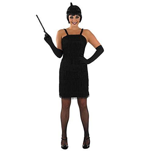 fun shack Womens 20s Flapper Dress Black with Gloves, -