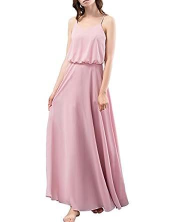 Dresstells Long Bridesmaid Dress Spaghetti Straps V-Neck Chiffon A Line Prom Dresses Blush Size 4