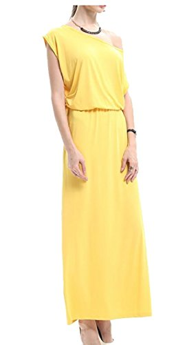 One Size Jaycargogo Maxi Dress Long Short Yellow Sleeve Plus Short Womens Shoulder qwRwC1UISx