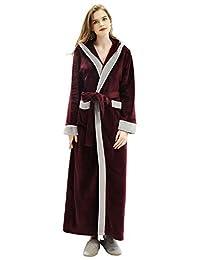 Artfasion Womens Long Robe with Hooded Full Length Soft Plush Ladies Bathrobe Sleepwear